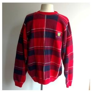 The Sweater Shop Men's Size L Red Plaid Sweater